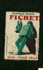 Poster Stamp Label Coffres Forts FICHET Safes & Locks EARLY ROBOT GRAPHIC Great!