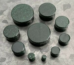 PAIR Green Goldstone Stone Plugs Sandstone Glass Earlets Gauges