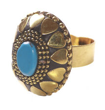 Lavish Golden Hearts &  Blue Stone /stretchable Oval Statement Hand Ring(Ns9)
