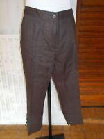 Pantalon court pantacourt 100% lin marron DEVERNOIS 46FR 18AO28