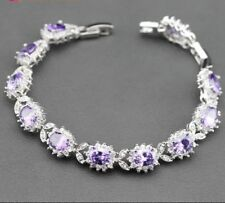 Amethyst Topaz Tennis Gemstone Sterling Silver Bracelet ,Bangle February Birth