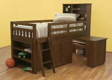 SINGLE MAYDEN CABIN / MIDI SLEEPER BUNK BED (MODEL 13-5-18-12-9-14) - WALNUT