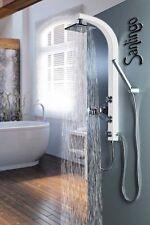 White Shower Column Sanlingo Shower Panel Massage Jets Rainshower