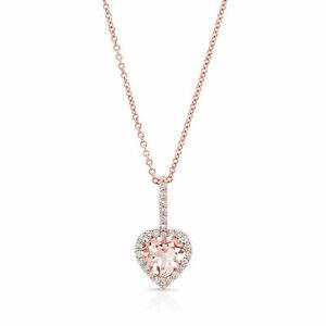 18K Rose Gold Heart Morganite Diamond Pendant Necklace 1.40 TCW Natural Womens