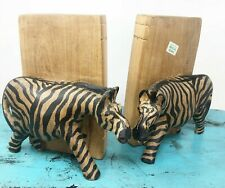 "Zebra Handmade Kenya Wood Hand Carved Bookends 6"" x 4"" Safari Africa Vintage"