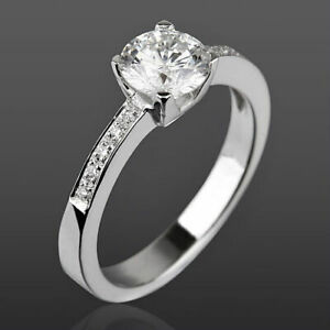 VS1 D DIAMOND RING SOLITAIRE ACCENTED 4 PRONG 0.98 CT LADY NEW 18K WHITE GOLD