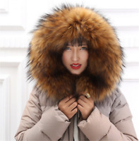 100% Natural Real Large Raccoon Fur Collar Women Scarf Winter Coat Neck Lot
