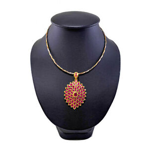 Vintage 3 Color Multi toned Gold Necklace Choker Oval Red ruby Pendent Women's