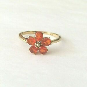 Ring Sterling Silver 925 & orange Fire Opals Posy  Ring Size T   (2362J)