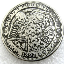 US 1893 Morgan Dollar skull zombie skeleton Coin