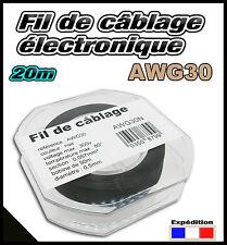 awg34N fil de câblage modélisme ultra fin bobine de 20 ou 50m noir, idéal train
