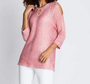 """4.9747 Sommer-Pullover mit eingearbeiteten Pailletten """"rosé"""" Gr. 48"""