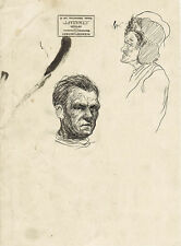 Page with TWO MEN'S INK PORTRAITS by Russian artist N.Sheberstov