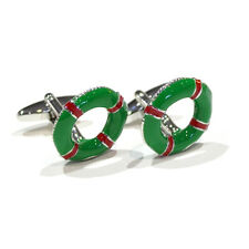 Green And Red Life Belt Style Cufflinks Lifebuoy Boat Sailing Cufflinks Gift New