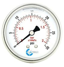 "2.5"" LIQUID FILLED PRESSURE GAUGE 0 - 30 PSI, STAINLESS STEEL CASE BACK  MOUNT"