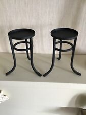 "PAIR OF BLACK TEXTURED METAL CANDLE HOLDERS  5"" TALL # W/D"