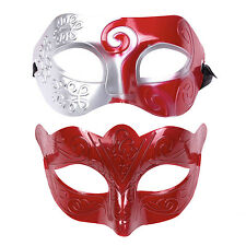 "His & Hers Halloween Mask Set Masquerade Party  - ""Warrior"" Red / Silver"