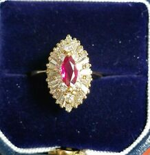 18 Karat Yellow Gold  Marquise Ruby & Diamond Cluster Ring 1.92 Carats Total