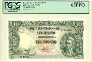 New Zealand 10 Pounds Currency Banknote 1967 PCGS 65 Gem CU PPQ