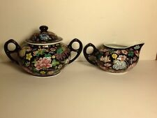 Black Floral Chinese Tea Sugar and creamer Famille Rose Vintage Serving No Chip