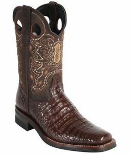 WILD WEST BROWN CROCODILE BELLY COWBOY BOOT RODEO-SQUARE-TOE RUBBER SOLE (EE)
