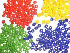 4 colores Rocailles abalorios 2,5 mm azul rojo amarillo verde opaco Rocailles 60g