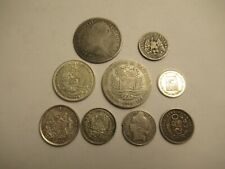 Lot of 9 foreign silver Coins,  mixed dates, denominations, countries