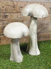 S/2 New Wooden Fairy Mushroom Toadstool Garden Ornament Sculpture Large 26/36cm