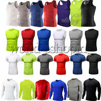Men Compression Shirt Base Layer Tight Tank Top Gym Sports T-Shirt Athletic Vest