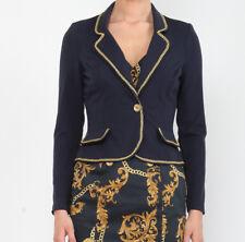 Damen Jersey Kurzblazer Blaser Jacket Dunkelblau Langärmel Viskose Gr.XS