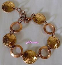 2012 LUCKY PENNY BRACELET 5th ANNIVERSARY GIFT WITH SOLID COPPER RINGS & PENNIES