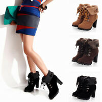 Womens High Heel Lace up Ankle Boots Winter Warm Wedge Platform Pumps Shoes