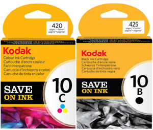Genuine Kodak 10B (Black) + 10C (Tri-Colour) Ink Cartridges NEW & SEALED