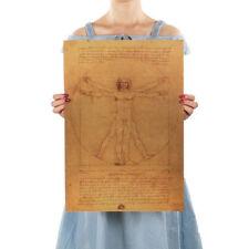 Leonardo Da Vinci Manuscript Vitruvian Man Posters Nostalgic Retro Decorative