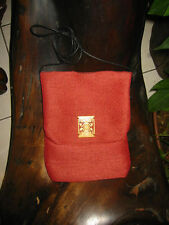 Red with Aztec Designed Bone Passport Bag