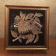 vintage carreau ceramique oiseau  Majolica Maw & Co bird  70's