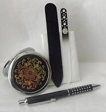 Gift Set Black Dual Sided Mirror Compact ,Black Ballpoint Pen, Czech Nail File