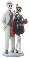 Day Of The Dead Skeleton Flapper Couple Figurine Skull Sculpture Collectible Toy