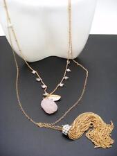$20 Nordstrom Natural Rose Quartz Stone Beaded Tassel Pendant Necklace Goldtone