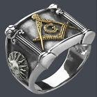 Men's Masonic Mason G and Pillars Stainless Steel Ring 24K Gold-Plated