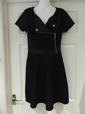 DEFINITIONS Black Skater Dress with Faux Leather & Zip Detailing UK Size 10
