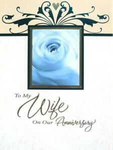 """I Feel Lucky That You're My Wife"" WIFE ANNIVERSARY CARD Rose & Silver Foil"