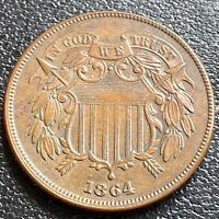 1864 Two Cent Piece 2c High Grade AU #29447
