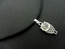 "A LADIES BLACK LEATHER CORD 13 - 14"" CHOKER OWL  NECKLACE. NEW."