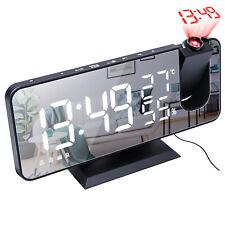 Lcd Led Digital Time Projector Projection Fm Radio Snooze Alarm Clock Dual Alarm
