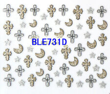 Halloween Glitter Crosses Stars Moons 3D Nail Art Stickers Decals Decorations