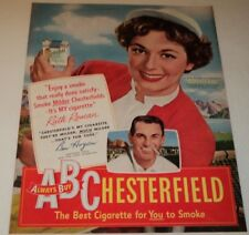 VINTAGE 1950 CHESTERFIELD CIGARETTE AD  RUTH ROMAN / BEN HOGAN