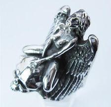 silver ecstasy winged angel skull biker ring custom size MC handmade r-9s