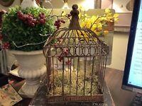 "Small Metal Bird Cage~Bronze Tone~Latch~Decorative~Hanging~11.5""H X 7.25""W~CUTE"