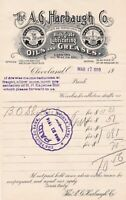 U.S. The A.G. Harbaugh Co. Cleveland Logo 1910 Greases & Oils Paid Invoice 43651